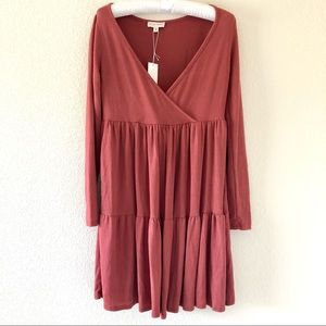 See You Monday Long Sleeve Knit Crossover Dress M